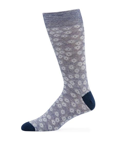 Neiman Marcus Men's Floral Melange Knit Socks