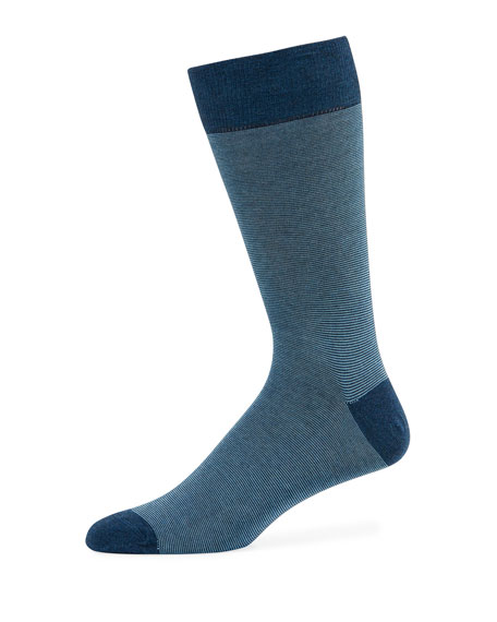 Neiman Marcus Men's Millerighe Striped Socks