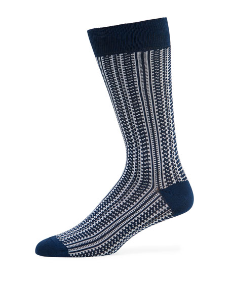 Neiman Marcus Men's Birdseye Vertical Cotton Socks