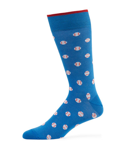 Men's Baseballs Cotton-Blend Socks