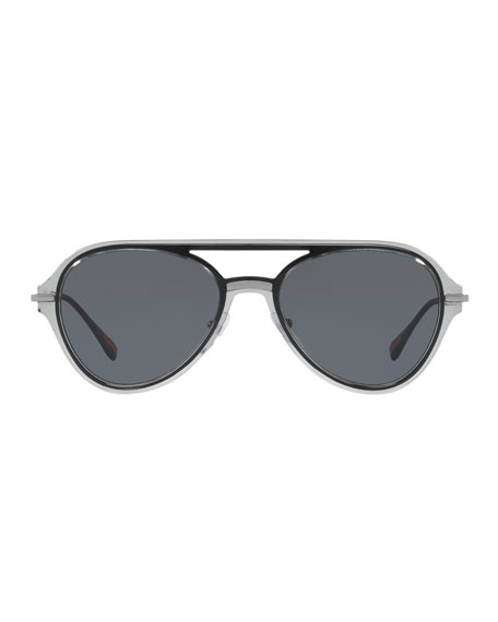 Men's Plastic Solid Polarized Aviator Sunglasses