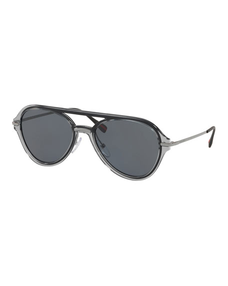 Prada Men's Plastic Solid Polarized Aviator Sunglasses