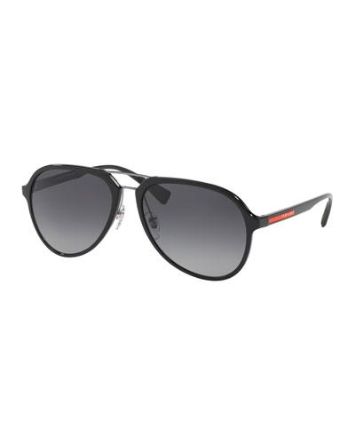 Men's Plastic Gradient Polarized Aviator Sunglasses