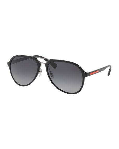 Prada Men's Plastic Gradient Polarized Aviator Sunglasses