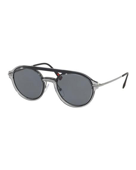 Prada Men's Round Plastic Polarized Sunglasses