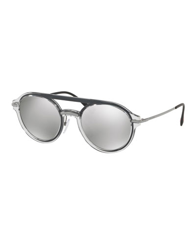 Men's Round Plastic Mirrored Sunglasses
