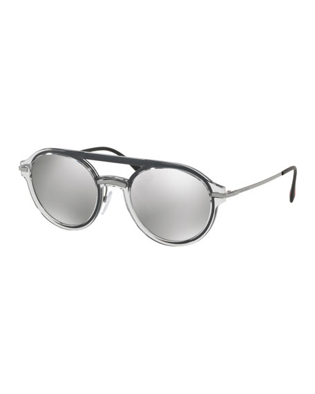 Men's Round Plastic Mirrored Sunglasses