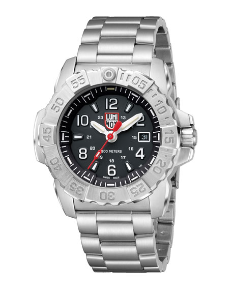Men's Navy Seal Bracelet Watch, Silver