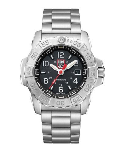 Men's Navy Seal Bracelet Watch, Silver