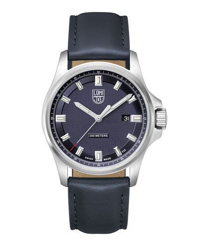 Men's Dress Field Watch with Leather Strap  Navy