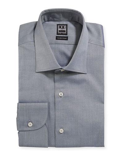 Men's Marcus Twill Barrel-Cuff Dress Shirt  Gray