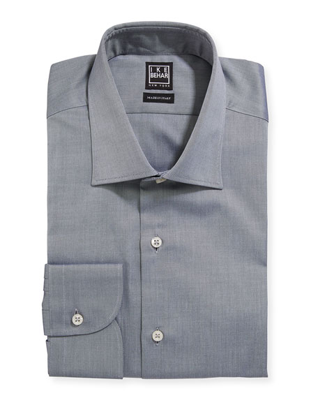 Ike Behar Men's Marcus Twill Barrel-Cuff Dress Shirt, Gray