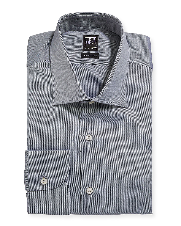 Ike Behar Mens Marcus Twill Barrel Cuff Dress Shirt Gray Neiman
