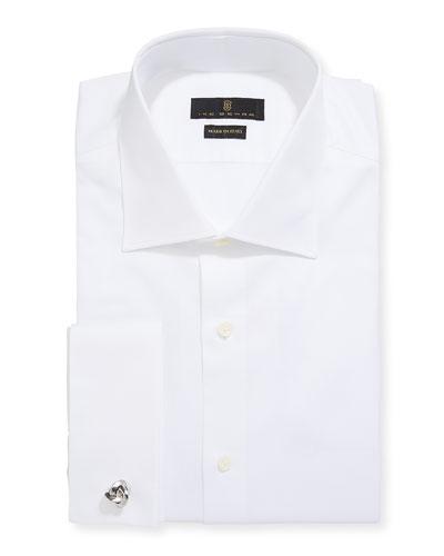 Men's Marcus Twill Barrel-Cuff Dress Shirt  White