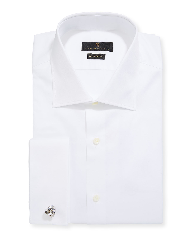 Ike Behar Mens Marcus Twill Barrel Cuff Dress Shirt White Neiman