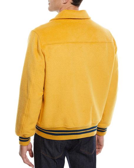 Men's Snap-Front Melton Wool Varsity Jacket w/ Logo Embroidery