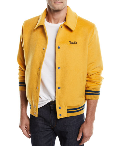 Ovadia & Sons Men's Snap-Front Melton Wool Varsity