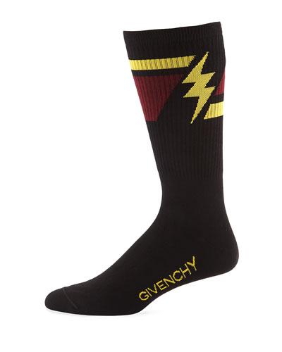 Men's Geometric Lightning Bolt Socks