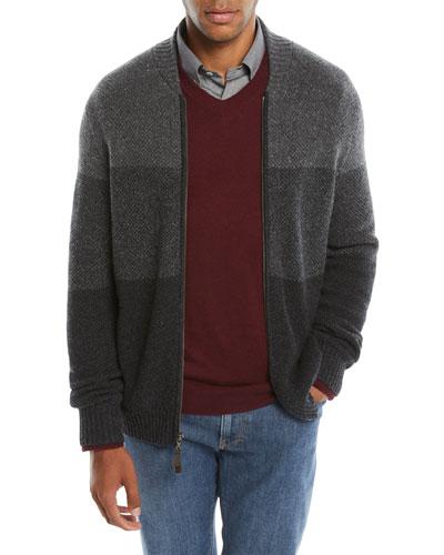 Men's Cashmere Donegal Zip-Front Cardigan