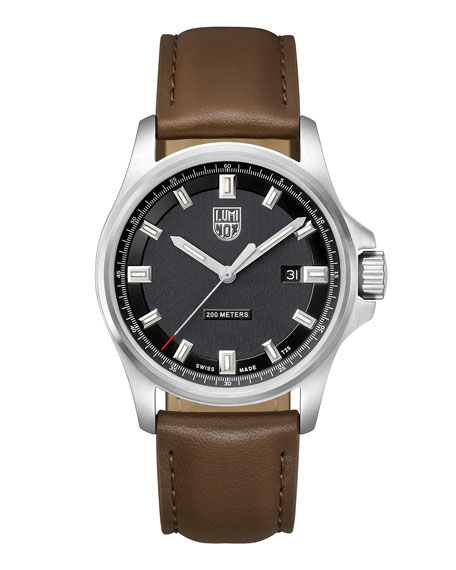 LUMINOX Men'S Field Watch With Leather Strap in Silver