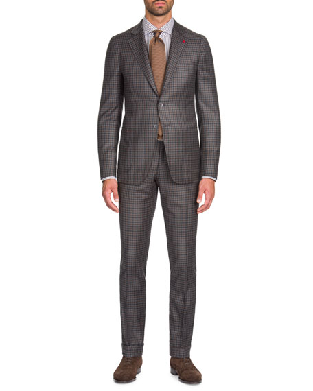 Men's Multi-Check Wool-Cashmere Two-Piece Suit
