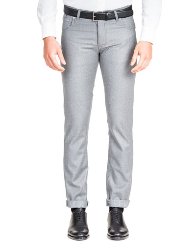 Men's Flannel Straight-Leg 5-Pocket Pants