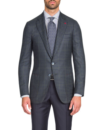 Men's Two-Tone Check Two-Button Blazer Jacket
