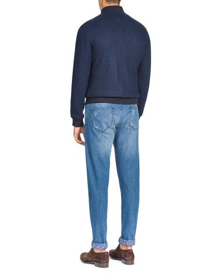 Men's Zip-Front Cashmere Bomber Jacket