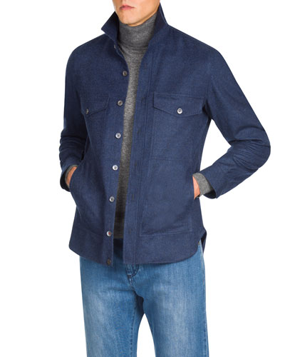 Men's Wool Button-Down Shirt