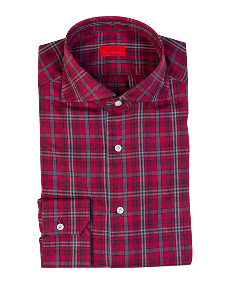 ISAIA Men'S Plaid Cotton Sport Shirt in Red