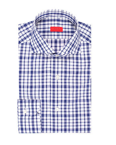 Men's Large-Check Cotton Dress Shirt