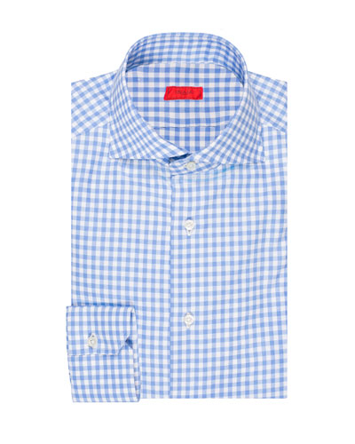 Men's Gingham Check Cotton Dress Shirt
