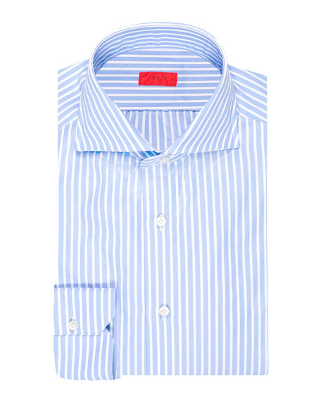 ISAIA Men'S Striped Cotton Dress Shirt in Blue