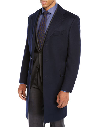 Men's Cashmere Car Coat, Navy Blue