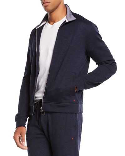 Men's Heathered Jersey Track Jacket
