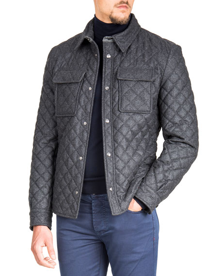 ISAIA Men'S Quilted Snap-Front Shirt Jacket in Gray