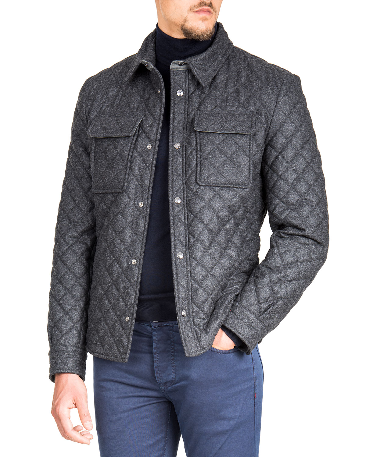 Isaia Mens Quilted Snap Front Shirt Jacket Neiman Marcus