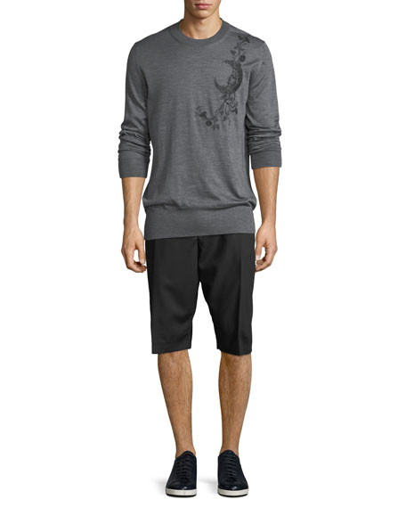 Men's Pleated-Front Wool Shorts
