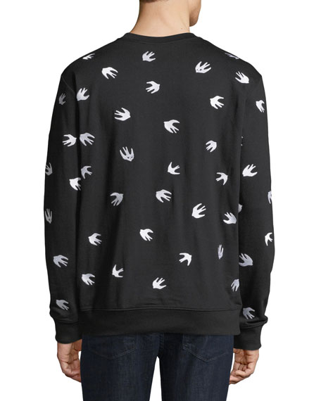 Men's Swallow-Print Crewneck Cotton Sweatshirt