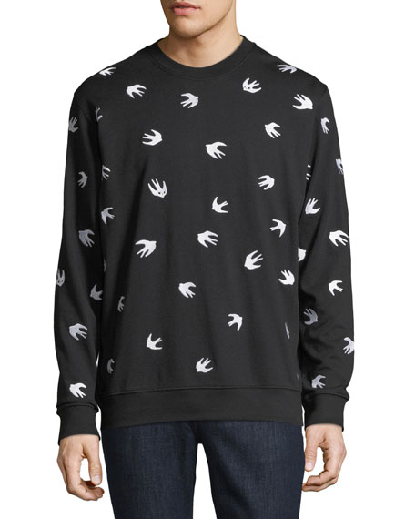 McQ Alexander McQueen Men's Swallow-Print Crewneck Cotton