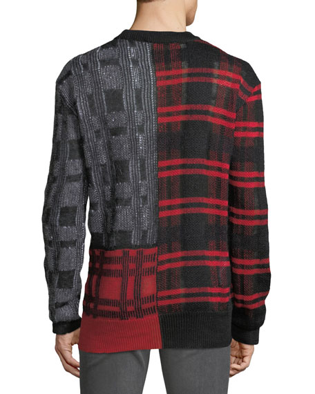 Men's Patchwork Check Crewneck Sweater