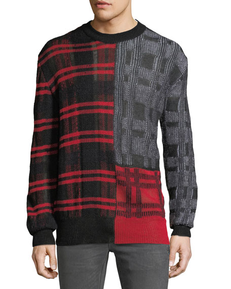 McQ Alexander McQueen Men's Patchwork Check Crewneck Sweater