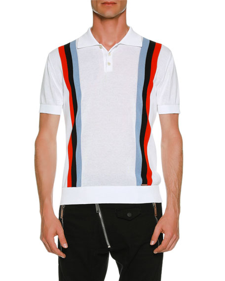 Striped Knit Polo Shirt