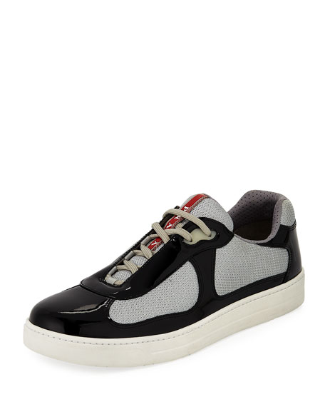 Prada Men's Vernice Low-Top Bike Sneakers
