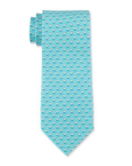 Whale Print Silk Tie