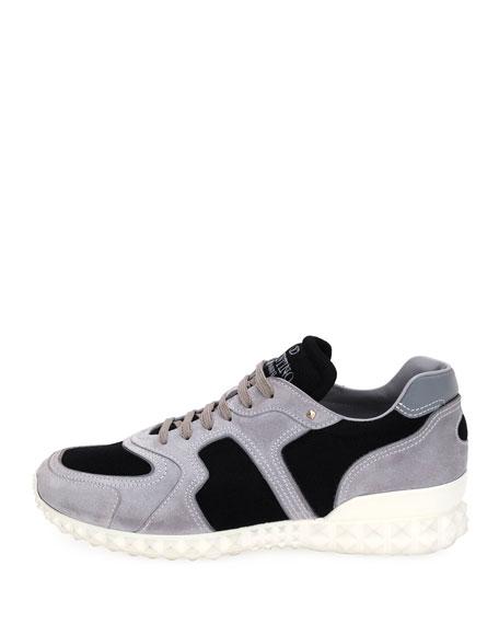 Rockstud Suede & Mesh Trainer Sneaker, Black/Gray