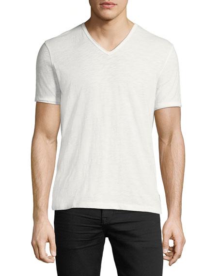 John Varvatos Star USA V-Neck Raw-Edge Slub T-Shirt