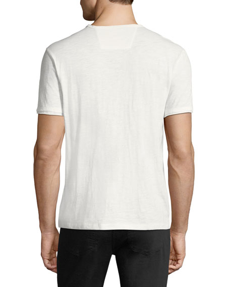 V-Neck Raw-Edge Slub T-Shirt