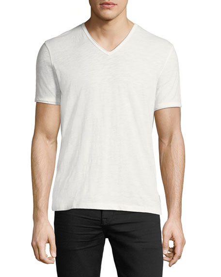John Varvatos Star USA V-Neck Raw-Edge Slub T-Shirt
