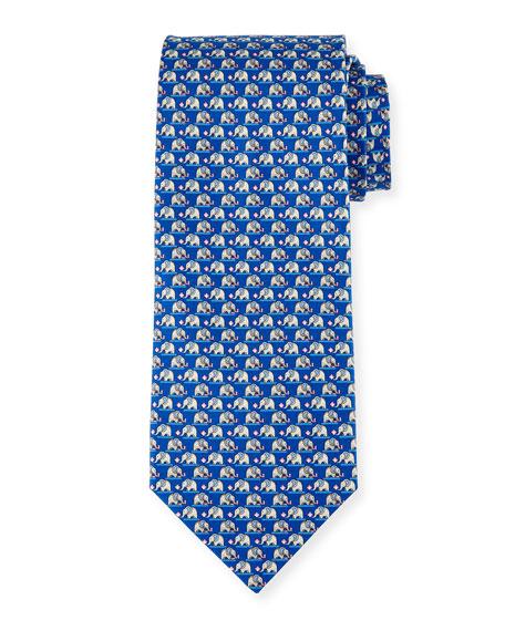 Elephant & Cotton Candy Silk Tie